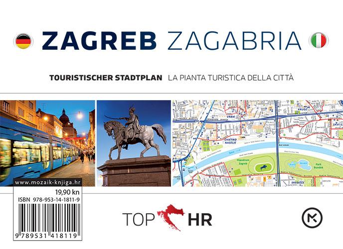 TOP HR – ZAGREB / ZAGABRIA stadtplan / la pianta della citta